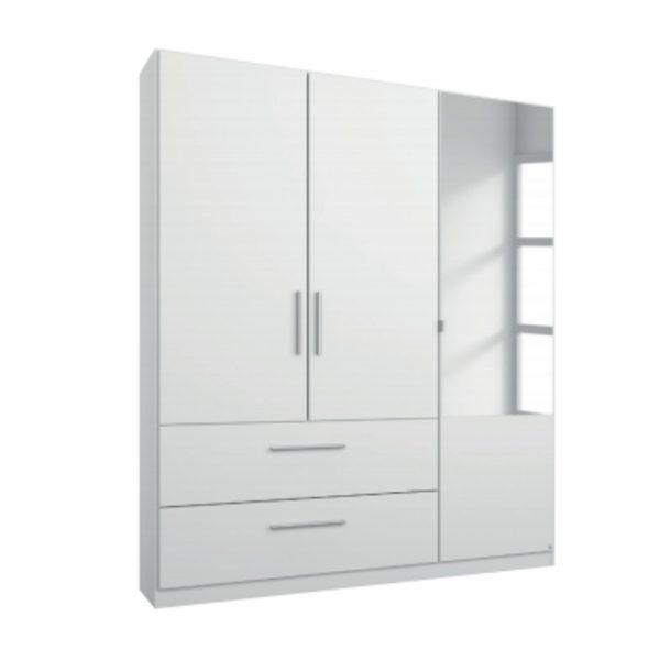 alvo white mirrored drawer wardrobe