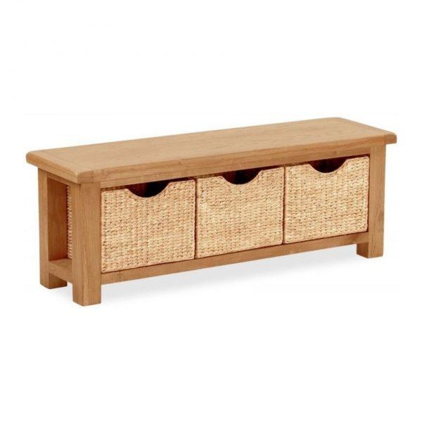 Salisbury Oak Bench with Baskets