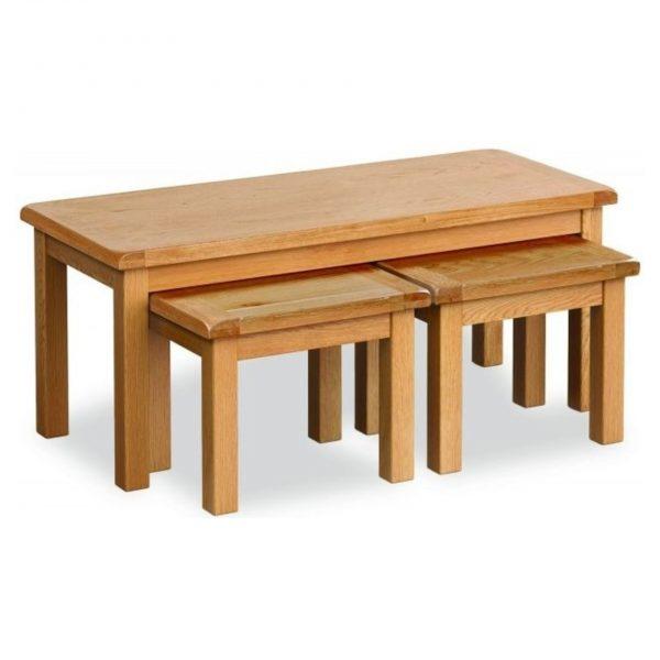 Salisbury Oak Long Nest of 3 Tables