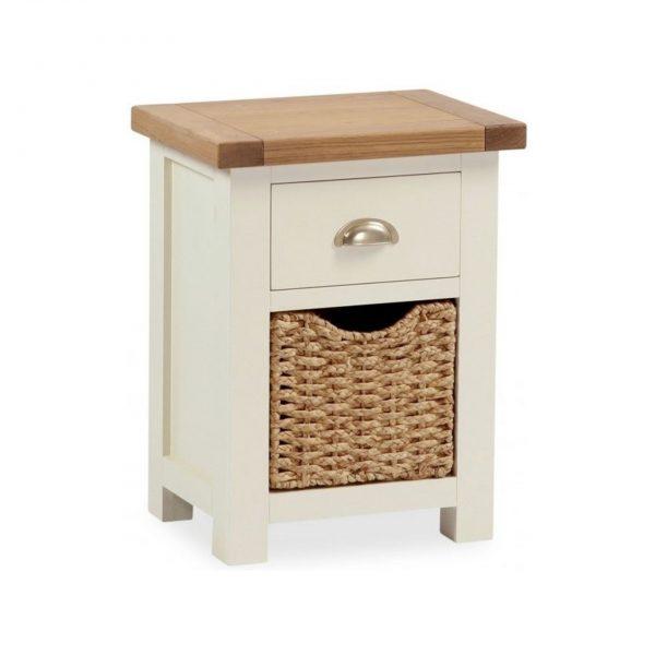 Suffolk Oak and Buttermilk Bedside Cabinet with Basket