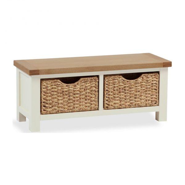 Suffolk Oak and Buttermilk Bench with Baskets