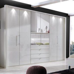 Loft 6 Door White mirror Drawer Wardrobe